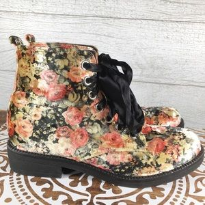 Dirty Laundry Floral Velvet Ribbon Lace-Up Boots